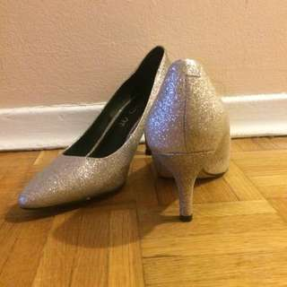 Genuine Leather Sparkly Heels Size 6