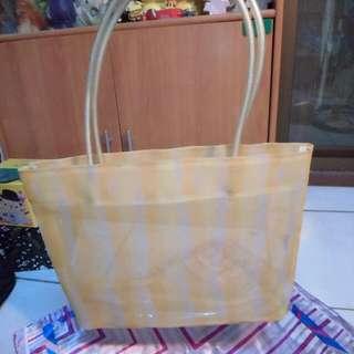 黃色條紋提袋