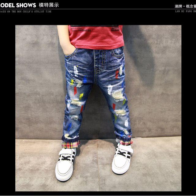 90-130(現)彩色油漆破壞感牛仔褲