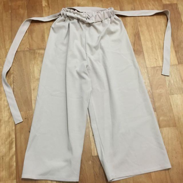 氣質粉膚色寬褲