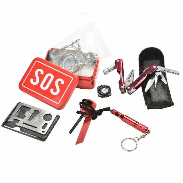 ★★  Latest Customized SOS Outdoor Equipment Emergency Bag / Field Survival Box / Self-help Box ★★  SOS Essential Equipment for Disaster / SOS / Emergency / Travel / Camping / Hiking saw /Fire Starting Tool Set ★★