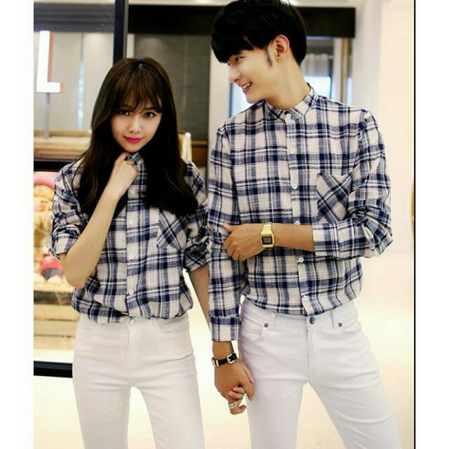 (現貨)韓版男女同款閨蜜情侶裝格子襯衫上衣   藏青M*2