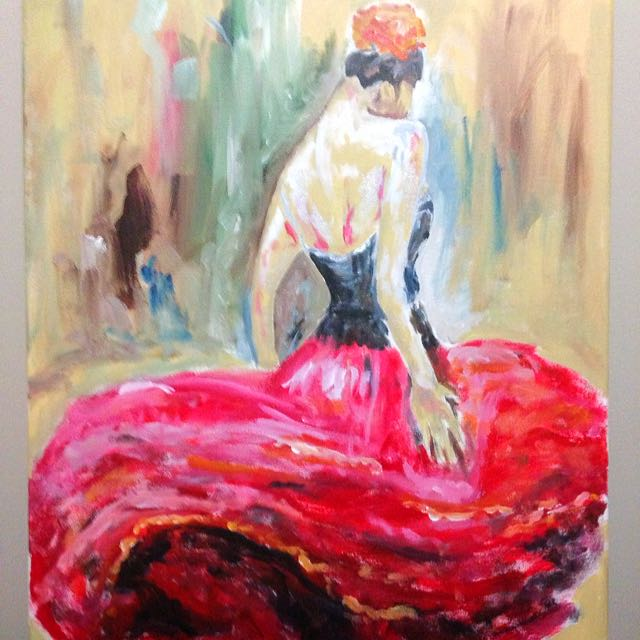 acrylic painting flamenco dancer