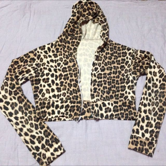 animal print long sleeves bolero w/hood