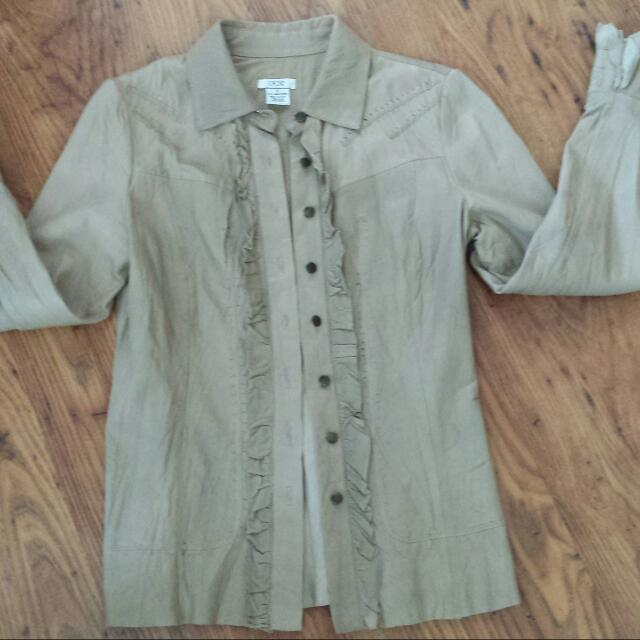 Beige Leather Jacket - Small