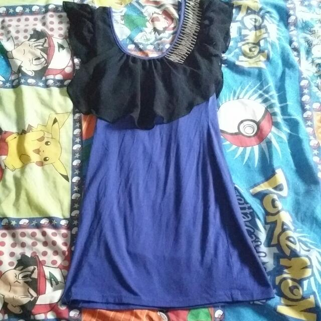Blue And Black Party Dress Size S