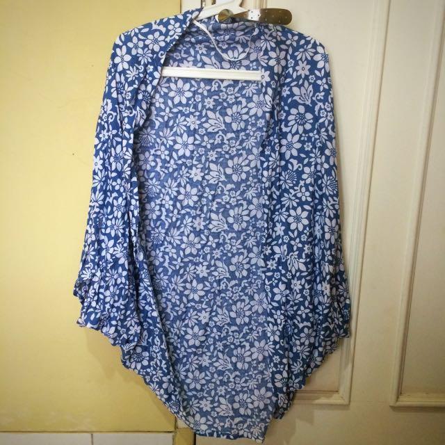 Blue Cotton Flowery Bolero Big Size