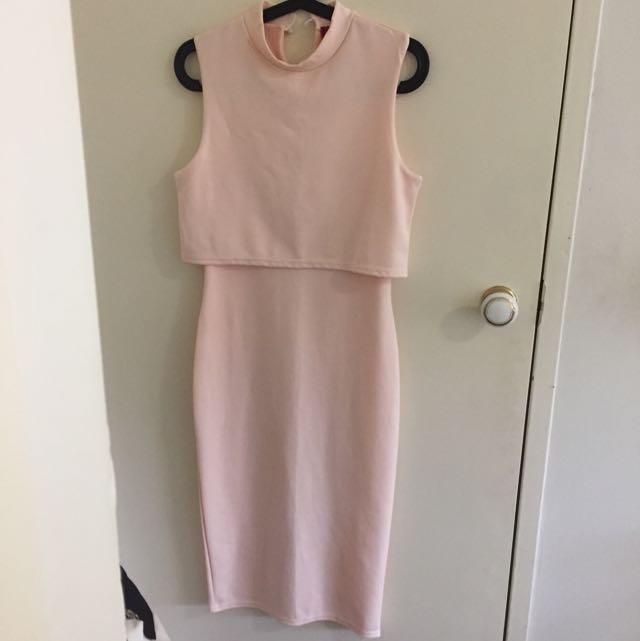 High Neck Double Layer Midi Dress
