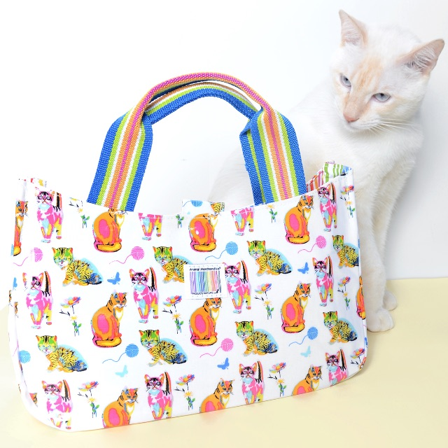 Cat Print Rainbow Bag