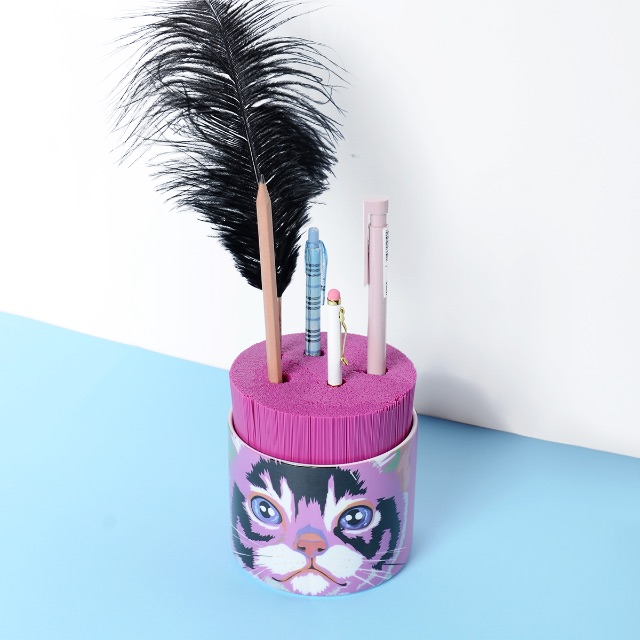 Cat Print Stationery Holder/Cup/Pot