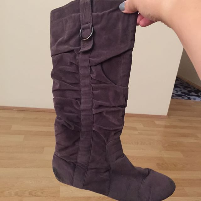 Charcoal Brown Flat Boots $15 Size 10