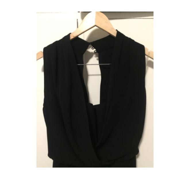 Cue Bodice Black Evening Dress