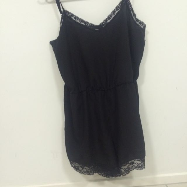 Cute Size 12 Supré Black Lace Playsuit