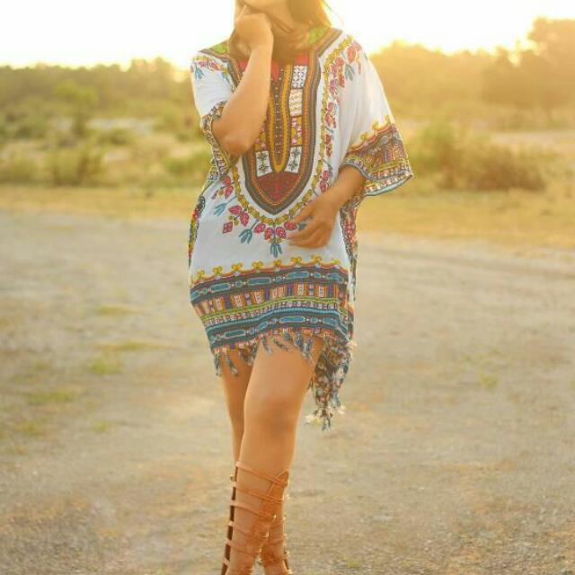 Dashiki Ponco White