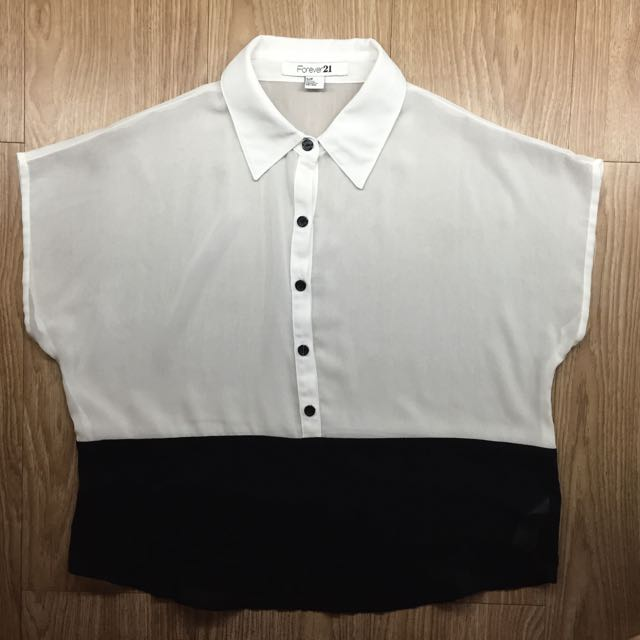 Forever 21 Black And White Casual Top