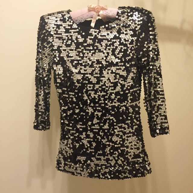 FRENCH CONNECTION sequin Zip Top
