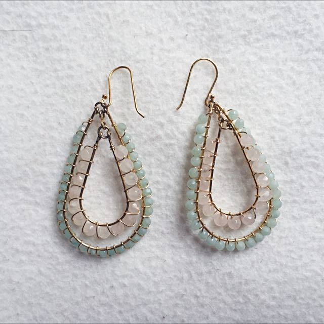 Green/Pink Gold Earrings