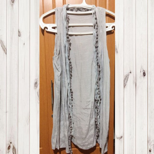 Grey Sleeveless Hippie Cardigan