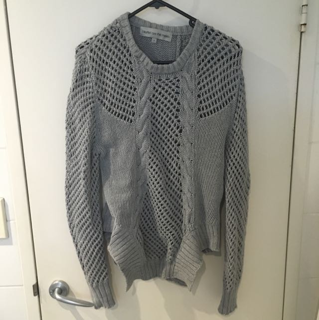 Grey Sweater With Funky Hem (M AU10)