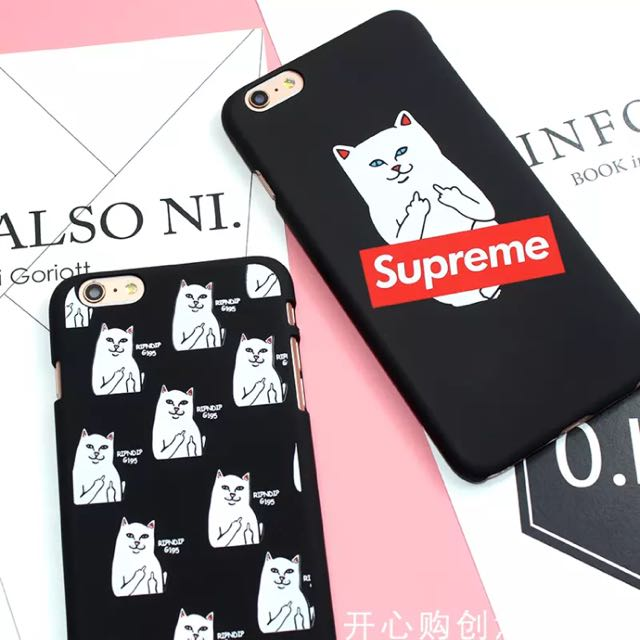 Hard) Supreme Ripndip Middle Finger Kitty Cat IPhone Case, Mobile