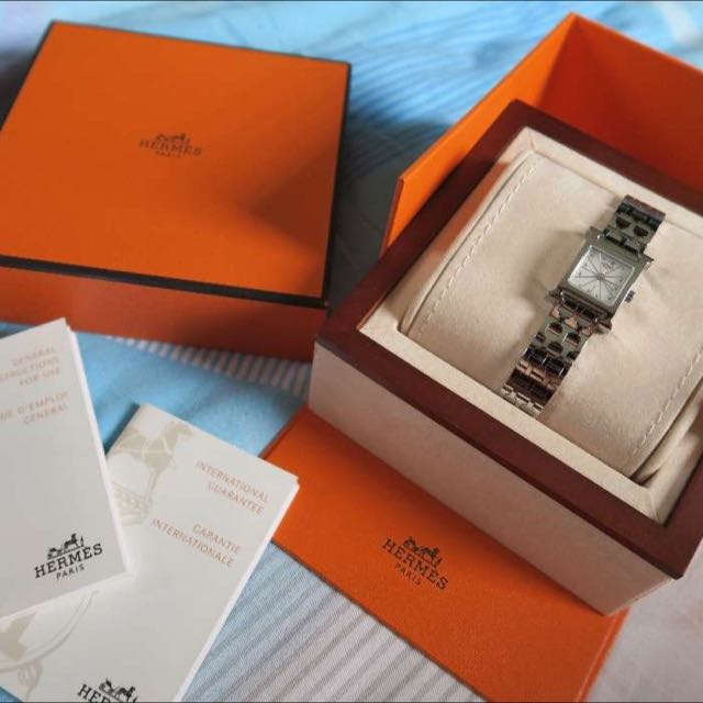 Hermes H Mini Wristwatch SS Shell Ladies (HH1.110)