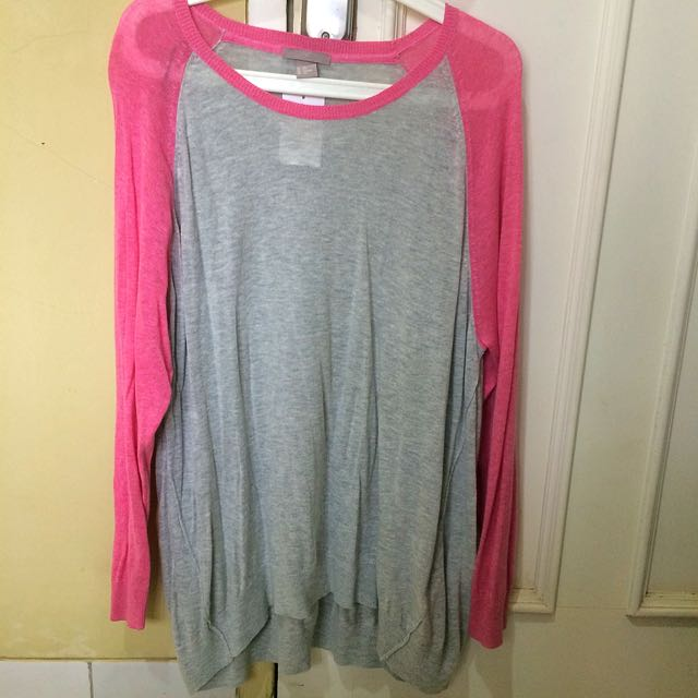 H&M+ Pink Long Sleeve Knitted Wear Big Size