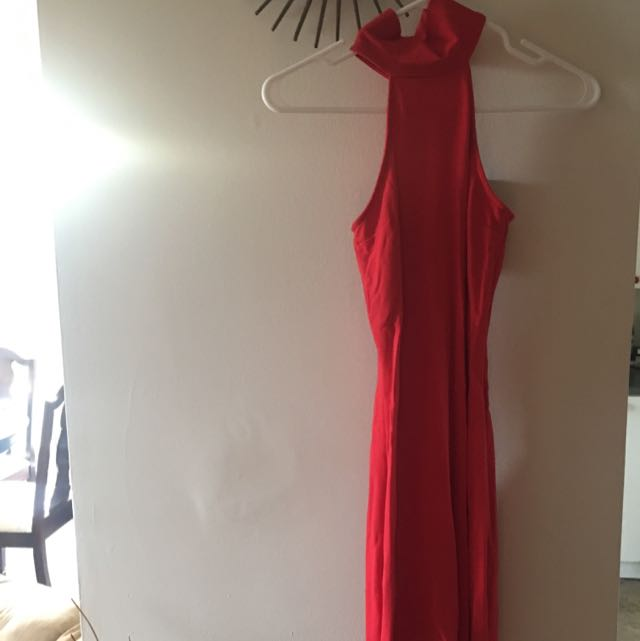 Long Red Fitted Dress