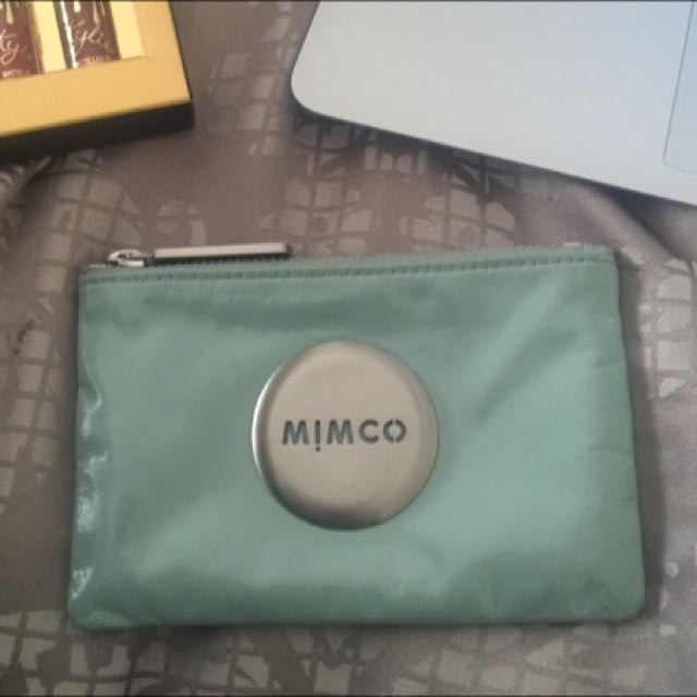Mimco Pouch Leather Baby Blue