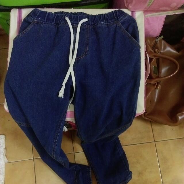 (OB購入)鬆緊綁帶牛仔褲(中藍色)