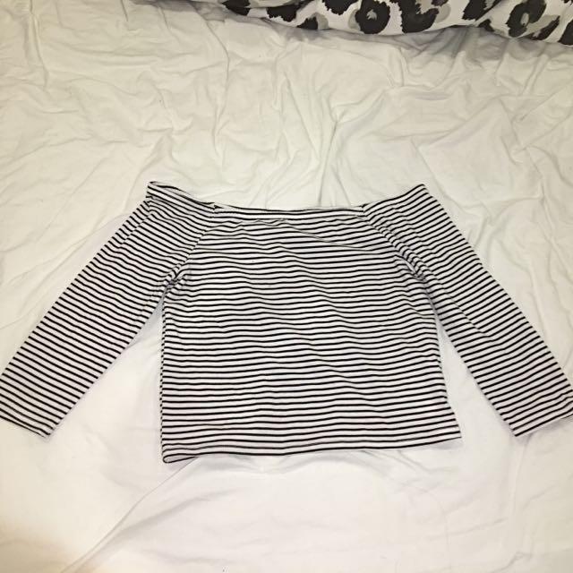 Off the shoulder striped crop top