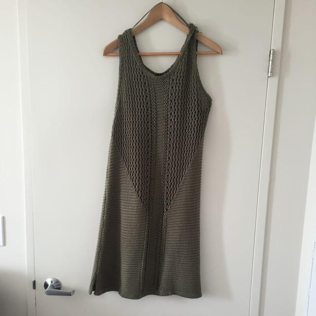 OLIVE GREEN CROCHETED DRESS