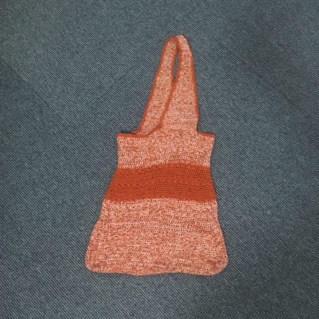 Orange Striped Knit Hobo Bag