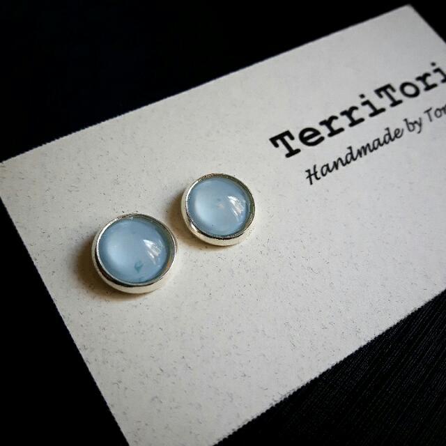 Pastel Light Blue Color Stud Earrings
