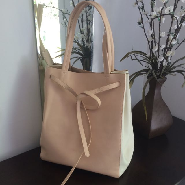 Pink-White Tote Faux Leather