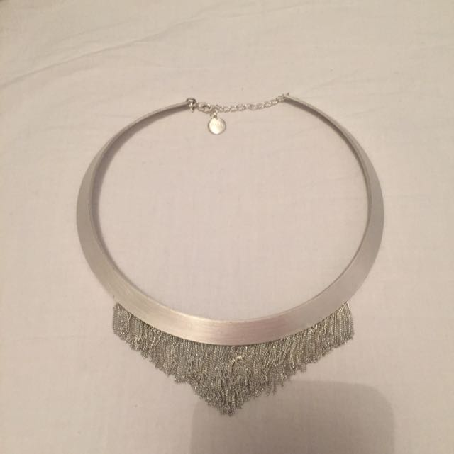 Saba Silver Matte Choker Necklace