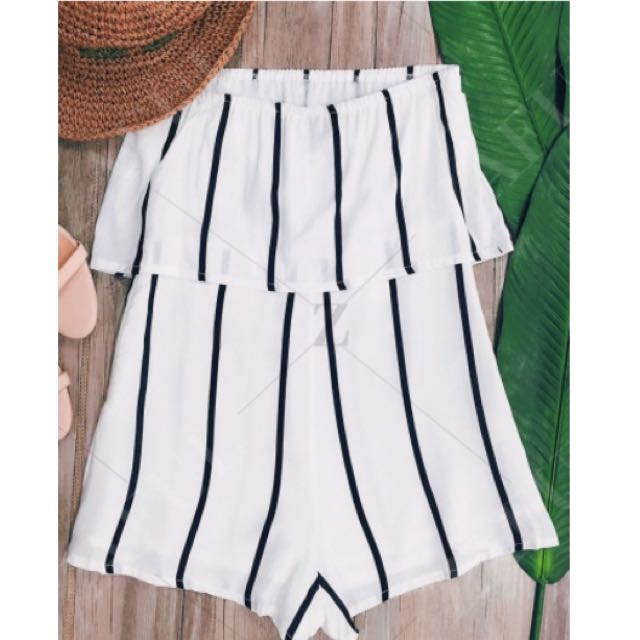 Stripped Strapless Playsuit