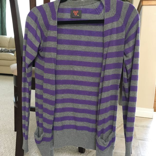 TNA Grey And Purple Striped Cardigan