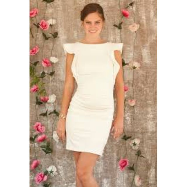 Two Hearts - Ivory/White Mila Ruffle Maternity Dress - Size Small