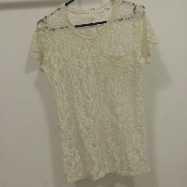 White Lace Large Don't Ask Amanda Shirt