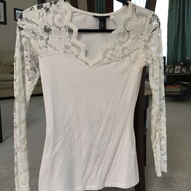 White Mixed Media Lace And Cotton Long Sleeve H&M