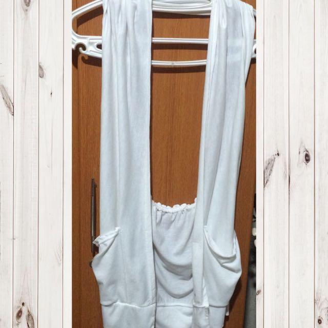 White Sleeveless Cardigan With Pockets
