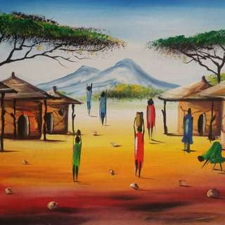 African Village painting