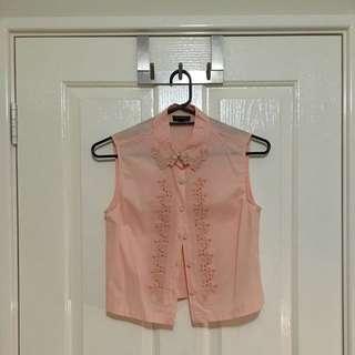 Topshop Sleeveless Cropped Shirt - Button Up