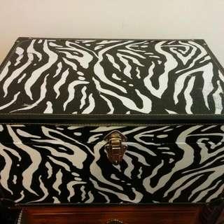 Zebra Striped Steamer Trunk