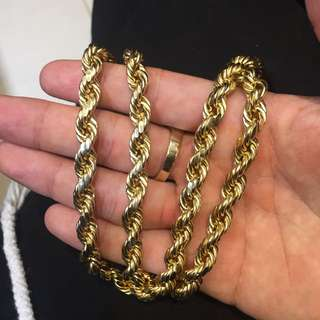 10k Gold Thick Rope Chain NEW