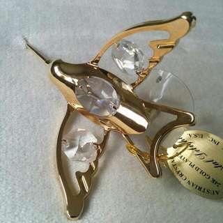 24K Gold Plated Austrian Crystal Decorative Figurine Bird