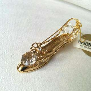 24K Gold Plated Austrian Crystal Decorative Figurine High Heels