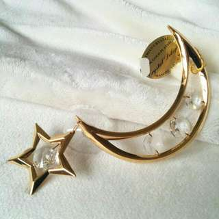 24K Gold Plated Austrian Crystal Decorative Figurine Moon And Star