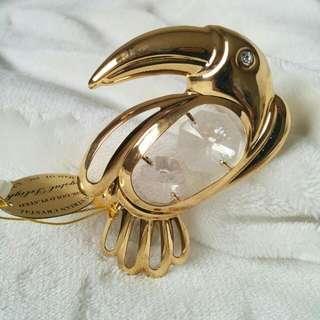 24K Gold Plated Austrian Crystal Decorative Figurine Parrot