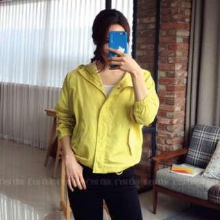韓國製 風衣 連帽外套 黃 落肩款